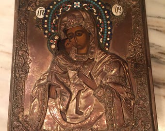 Antique Russian Icon With Enamel Accents And A Brass Overlay