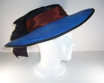 WHITTALL SHON Wide Brim Straw Hat, Bow, Wedding, Church, Easter, Vintage