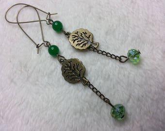 Earrings dangle green tree