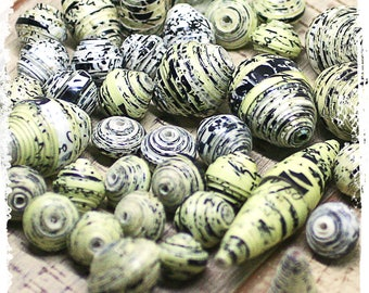 Black and white paper beads, Black and yellow rolled beads, Eco-friendly, Destash, Craft supplies, Boho chic components, Jewelry supplies,