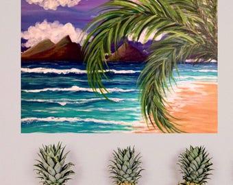"""ORIGINAL painting oahu lanikai hawaii beach art """"Lanikai"""""""