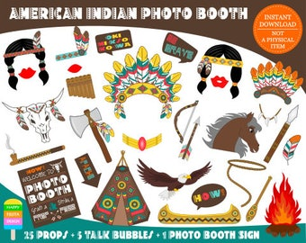 PRINTABLE American Indian Photo Booth Props-Native American Photo Props-American Indian Props-Indian Photo Props-Instant Download
