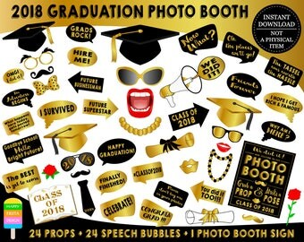 PRINTABLE Graduation Photo Booth Props 2018–Graduation 2018-Graduation Props-Class of 2018 Props-Graduation Party Props-Instant Download-GP3