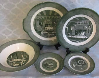 5 Pieces of Colonial Homestead by Royal, Green Colonial Homestead, Serving Bowl & Plates