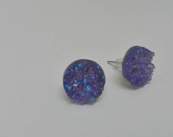 "Earrings Stud - dome ""druzy"" iridescent purple 10mm"