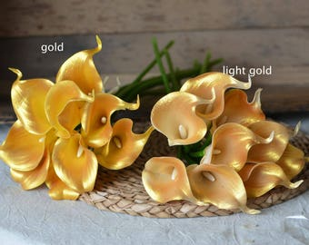 Gold Calla Lilies Real Touch Flowers For Wedding Bouquets Centerpieces