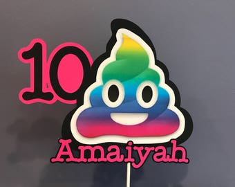 Rainbow Poop Emoji Cake Topper with name and age