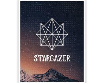 Stargazer Poster / Geometric Design / 8 x 10 /  Lustre Finish Kodak Print