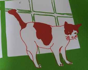 Screen printing cat