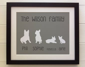"FRAMED Personalised Family Tree French Bulldog Print, 12""x10"", 20 colours options, Black/White Frame, Christmas, Birthday, Picture Gift"