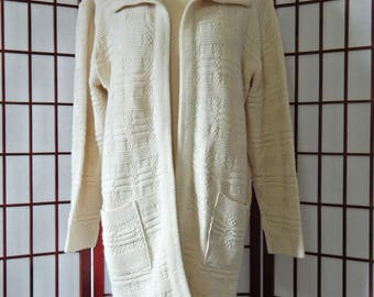 Open Front Cardigan Sweater Vintage 1970's Milrank Off White Knit Hippie Boho Slouchy (R6-80)