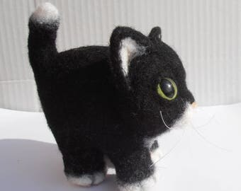 Figurine woolen plush collection cat black and white wool, home decor.