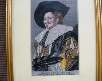 Vintage Woven silk picture The Laughing Cavalier by Frans Hals woven in silk by Brough Nicholson & Hall ltd LEEK England