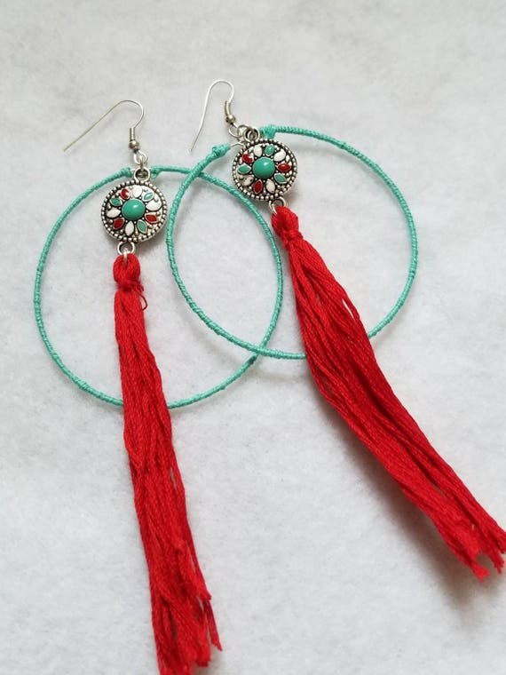 Bohemian Hoop and Tassel Earrings