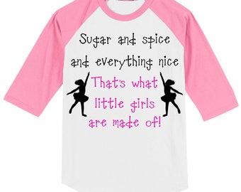 GIRL Gender Reveal Party T Shirt (3/4 sleeve baseball style raglan) for (future) dancer/ballerina - white/pink slvs szs YXS - Adult 6X 0616
