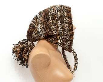 Pom Pom Hat Slouchy Womens Ear Flap Knit Beanie - Mixed Brown - Charlotte - READY TO SHIP