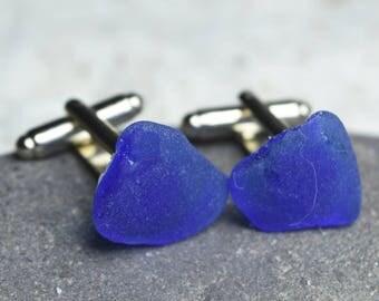 Custom Genuine Surf Tumbled Cobalt Blue Sea Glass Cufflinks - Made to Order - 1 Set
