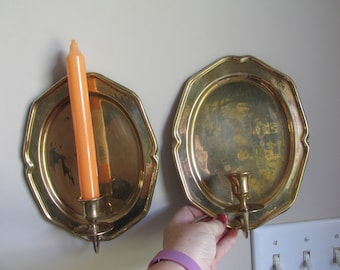 Pair of Vintage Edwardian brass wall sconce, taper candle, reflective back plate