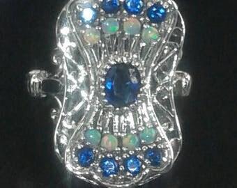 Sapphire & Fire Opal 925 Solid Sterling Silver Art Deco Ring jewelry Sz 6