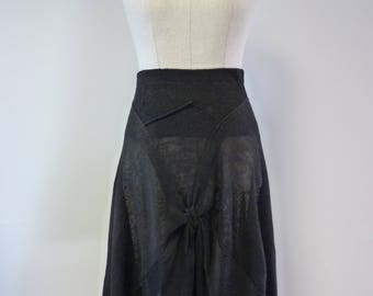 Black linen skirt, L size.