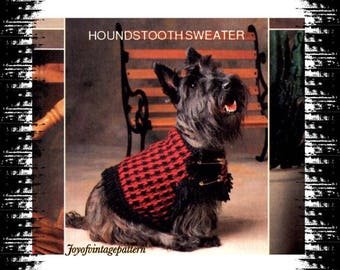 Retro dog sweater crochet pattern in PDF instant download pattern