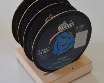 4 vintage michael jackson 45 rpm record vinyl label drink coasters with wooden display base