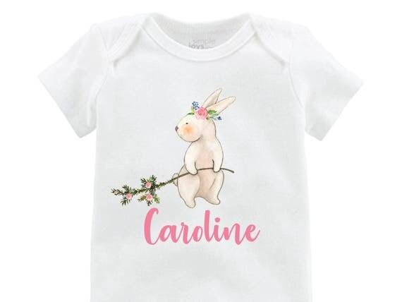 Girl Easter Bunny Shirt Easter Bunny Onesie Personalized Onesie floral Raglan Flutter Sleeve Girl Shirt Monogram Shirt Easter Rabbit Flowers