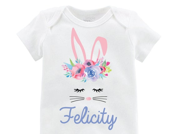 Girl Bunny Face Easter Onesie Personalized Easter Shirt Onesie floral Raglan Flutter Sleeve Girl Shirt Monogram Shirt Easter Bunny Flowers