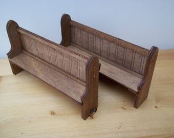 1:12 Scale Large Church Pew