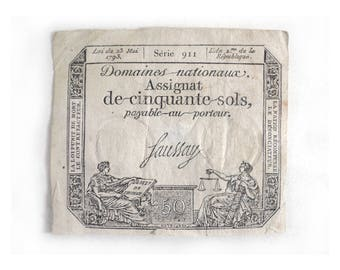 French Assignat 50 Sols Faussay, Banknote 1793