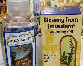 Jerusalem pure anointing oil Frankincense and Myrrh Holyland gift 10ml,0.34oz and Holy water from Jordan river 50 ml,1.60oz
