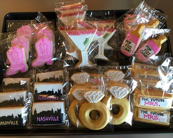 12 BACHELORETTE - WEDDING- BRIDAL  shower -i do- in nashville  vanilla sugar cookies - ring - martini - bottle - cowboy boots - future mrs.