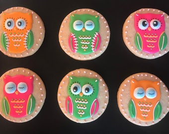12 OWL  theme cookies customized  Baby shower party, newborn -mom to be- graduation -1st birthday - boy or girl