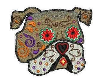 sugar skull dog machine embroidery design
