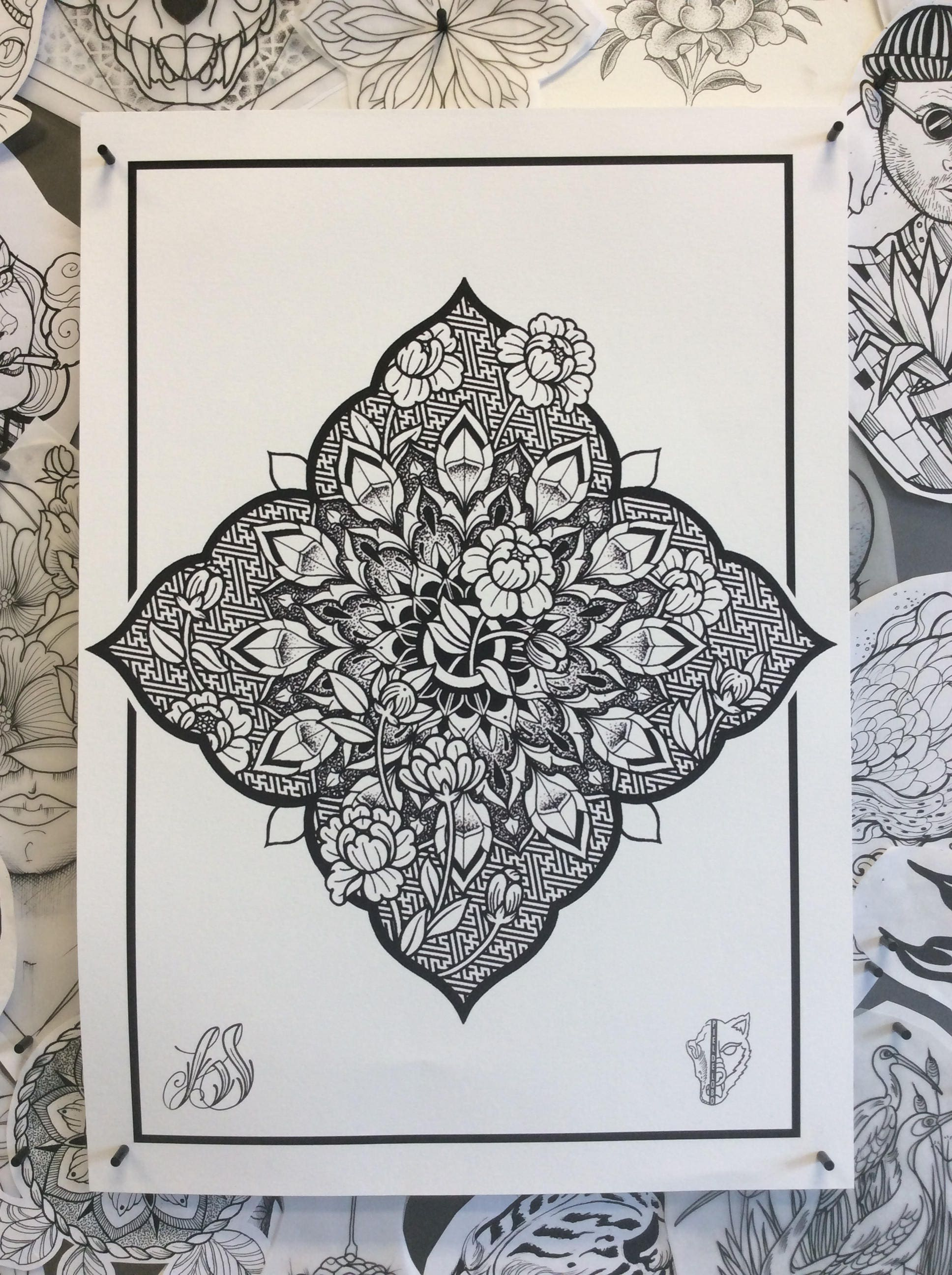 a3 mandala graphique floral motif tattoo design digital art. Black Bedroom Furniture Sets. Home Design Ideas