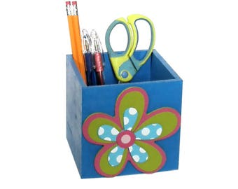 Handpainted pencil holder wood floral pencil cup blue pen cup desk accessory gift for teacher