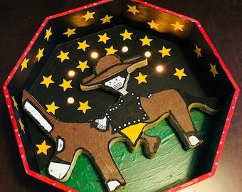 """Dia de Los Muertos """"Charro debajo De Las Estrellas"""" Retablo, Altar, Nicho--(battery -lit)(Cowboy under the Stars) Signed by Salvador Jimenez"""
