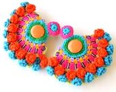 huge earrings, festival earrings, ethnic earrings, big earrings, large earrings, pom pom earrings, aztec earrings, tribal earrings