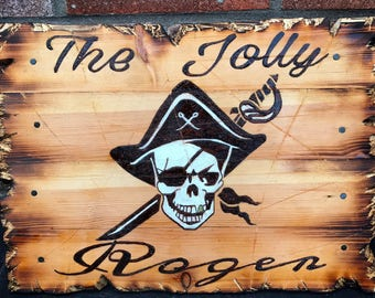 Pirate Tavern pub sign 'The Jolly Roger' wood burned and painted!
