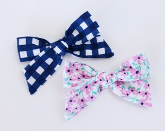 Wildflower Fabric Hand Tied Hair Bow Hair Clip Set // 4th of July Bows // Summertime Bows // Navy Gingham, Purple Wildflower