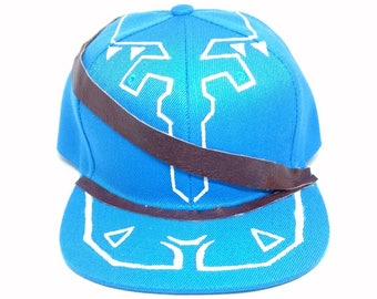 Breath of the Wild Legend of Zelda Link Turquoise Cosplay Snapback Hat with Tunic Pattern and Sheikah Slate BOTW Hat Link Hat Champion