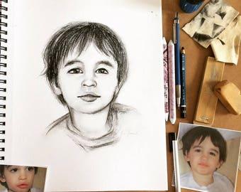 Custom personalized portrait charcoal paper quality pet House Kim Normandin child family