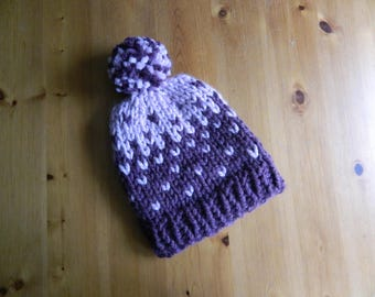 Hand Made Knitted Spotty Bobble Hat - Hand Knitted Pompom Ribbed Hat