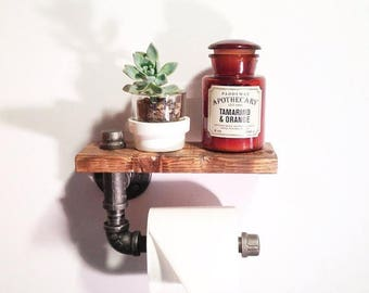 25% OFF SALE Industrial Bathroom toilet paper holder-Steampunk bathroom holder-Unique Bathroom shelf-Vintage pipe bathroom holder-Industrial