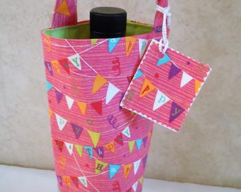 Happy birthday wine tote, single bottle beverage carrier, birthday banner party celebration gift bag, gift for guys and gals, turning 21