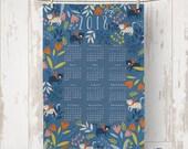 Linen Cotton 2018 Calendar Tea Towel/kitchen towel
