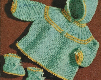 Vintage Baby knitting Pattern Matching Coat and Bootees PDF Knitting Pattern Instant Download