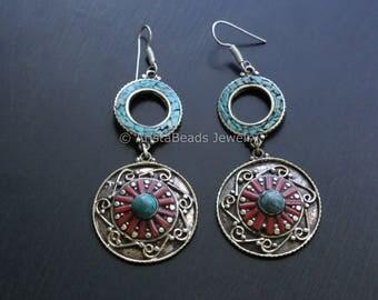 Turquoise Coral Earrings, Turquoise earrings, Gypsy Earrings,  Boho Earrings , Turquoise Coral Earrings,  Yoga Jewelry