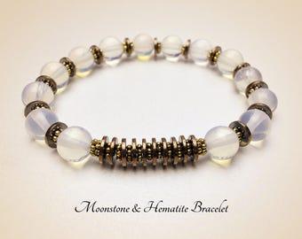 Moonstone Bracelet. Gemstone Bracelet. Yoga Bracelet. Mala Bracelet. Healing Bracelet. Reiki Bracelet. White Bracelet. Mala Beads. #M125