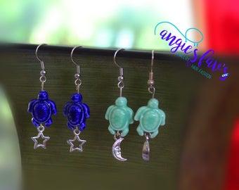 Dangle Earrings, Turtle Bead